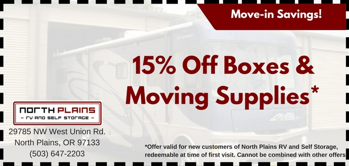 15% off Moving supplies coupon at North Plains RV and Self Storage